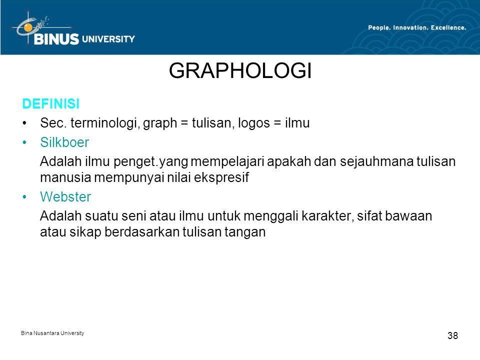 GRAPHOLOGI DEFINISI Sec. terminologi, graph = tulisan, logos = ilmu