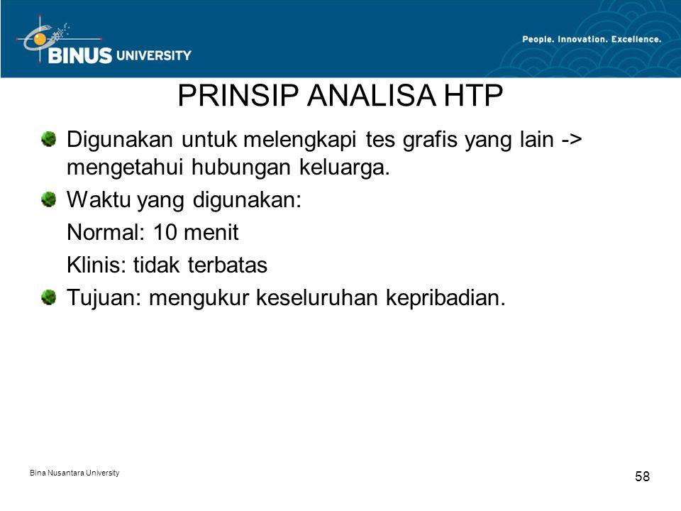 PRINSIP ANALISA HTP Digunakan untuk melengkapi tes grafis yang lain -> mengetahui hubungan keluarga.