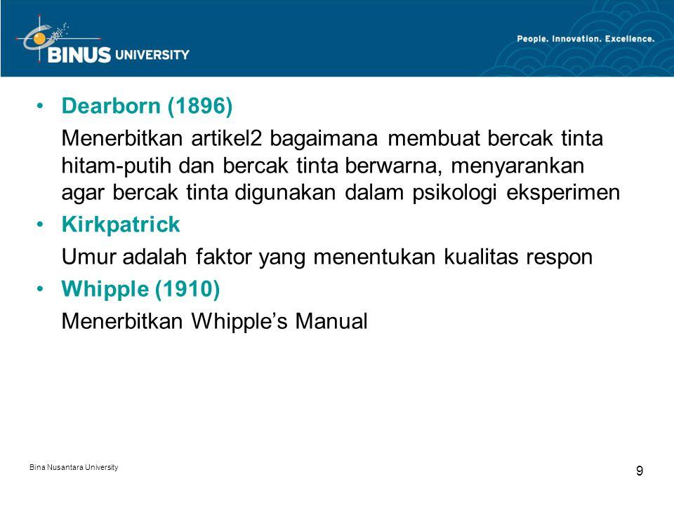 Umur adalah faktor yang menentukan kualitas respon Whipple (1910)