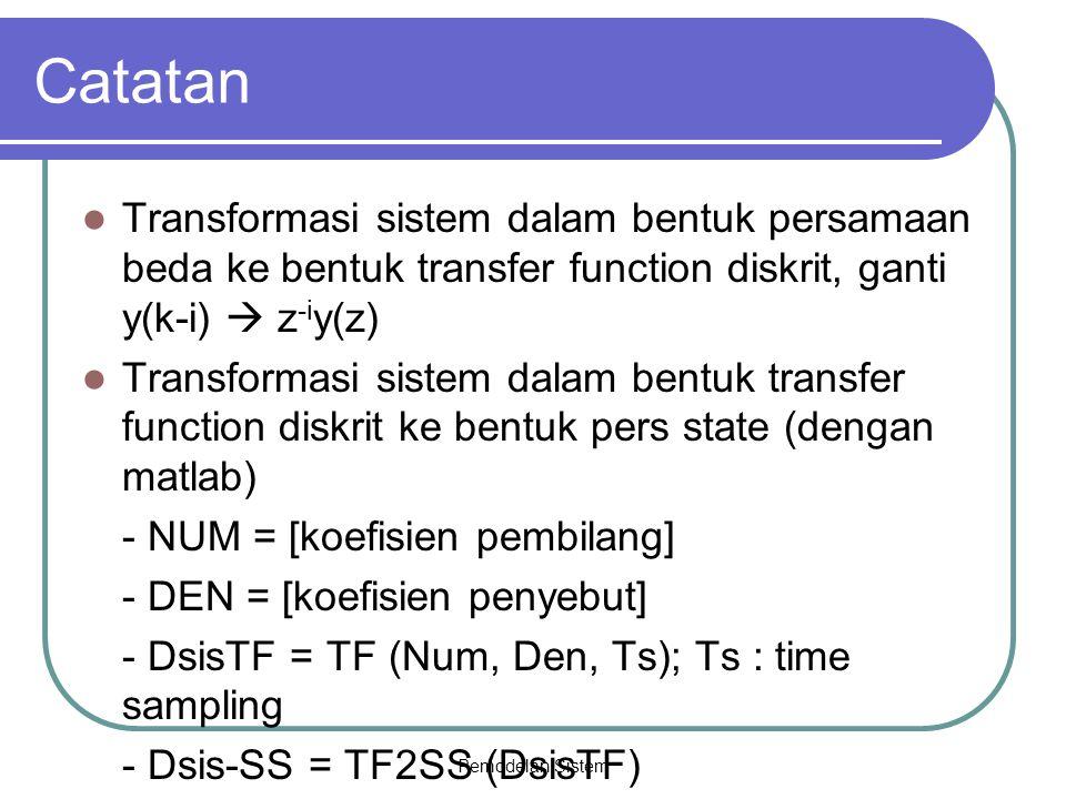 Catatan Transformasi sistem dalam bentuk persamaan beda ke bentuk transfer function diskrit, ganti y(k-i)  z-iy(z)