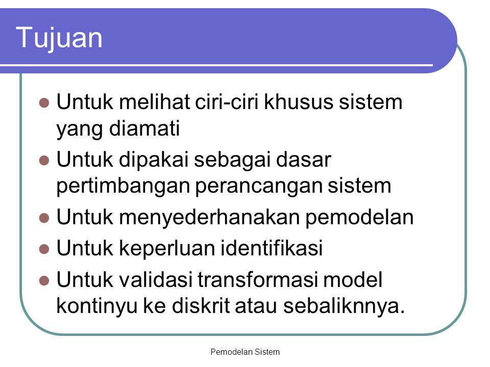 Tujuan Untuk melihat ciri-ciri khusus sistem yang diamati