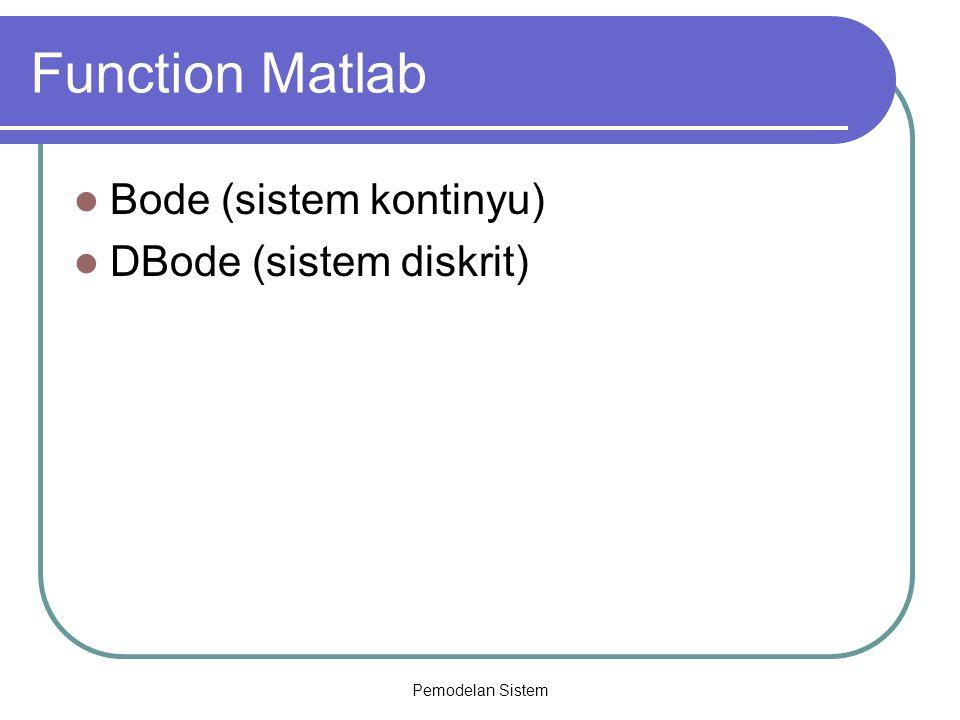 Function Matlab Bode (sistem kontinyu) DBode (sistem diskrit)