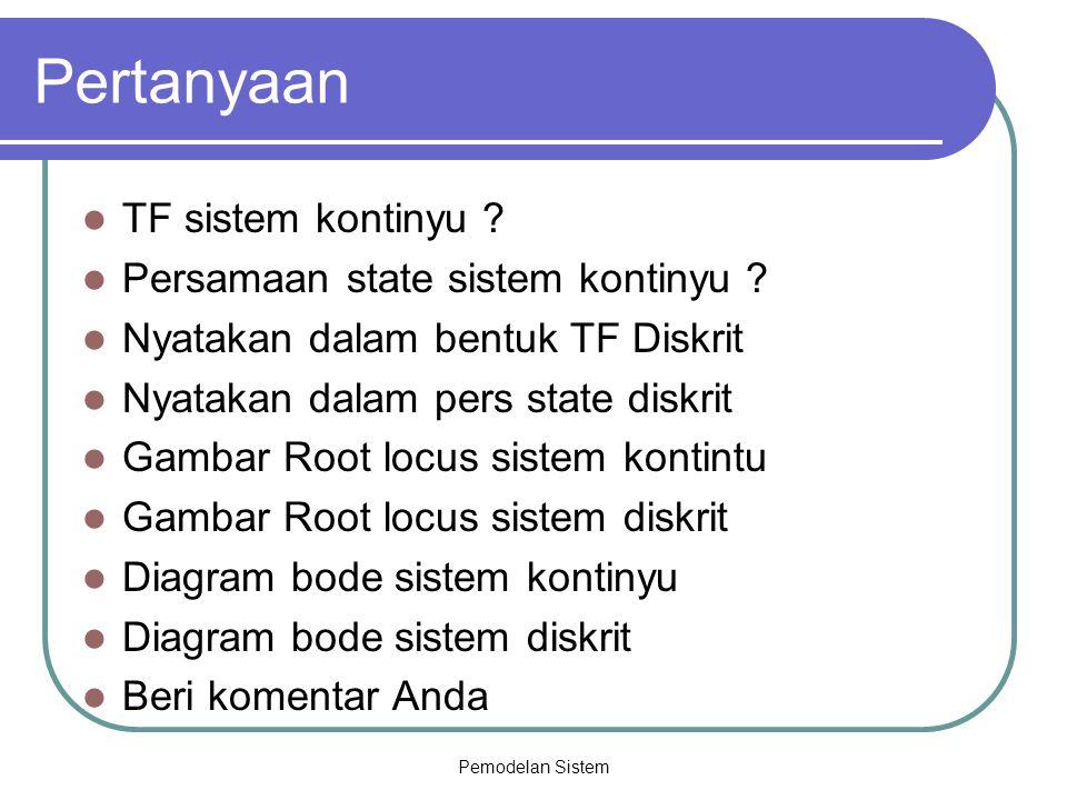 Pertanyaan TF sistem kontinyu Persamaan state sistem kontinyu