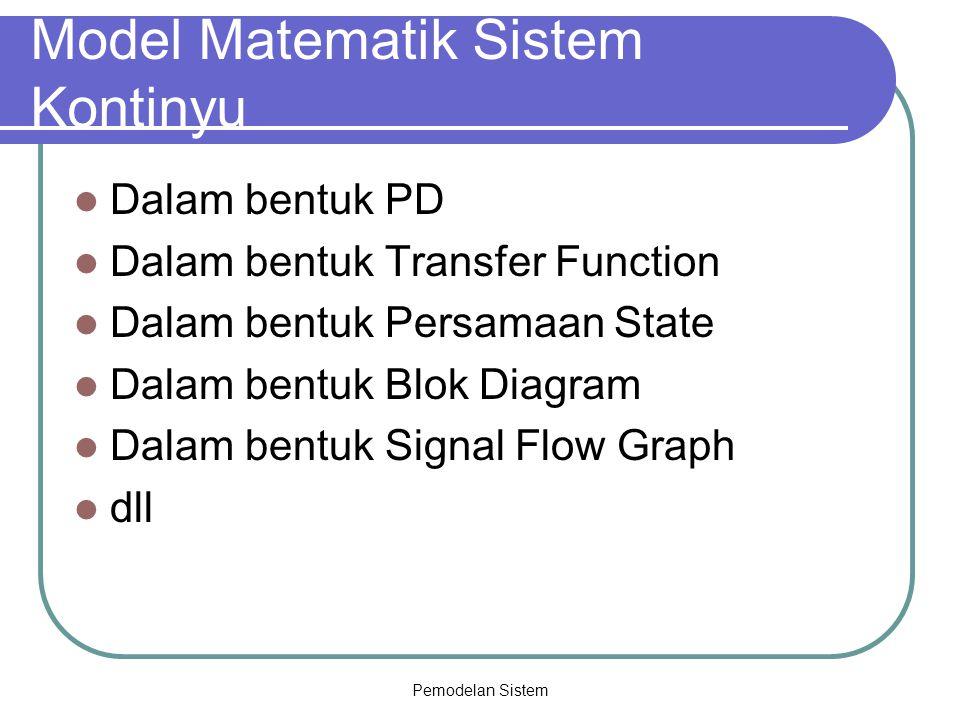 Model Matematik Sistem Kontinyu