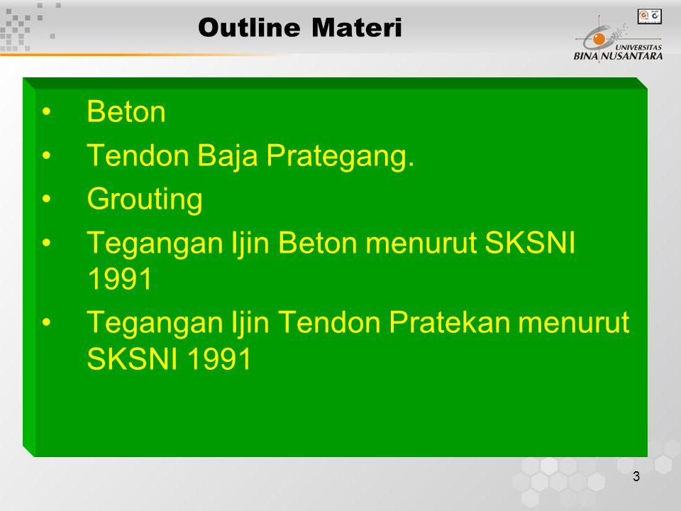 Tegangan Ijin Beton menurut SKSNI 1991