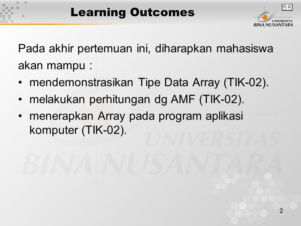 Learning Outcomes Pada akhir pertemuan ini, diharapkan mahasiswa. akan mampu : mendemonstrasikan Tipe Data Array (TIK-02).