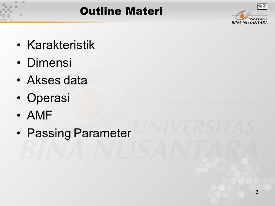 Karakteristik Dimensi Akses data Operasi AMF Passing Parameter