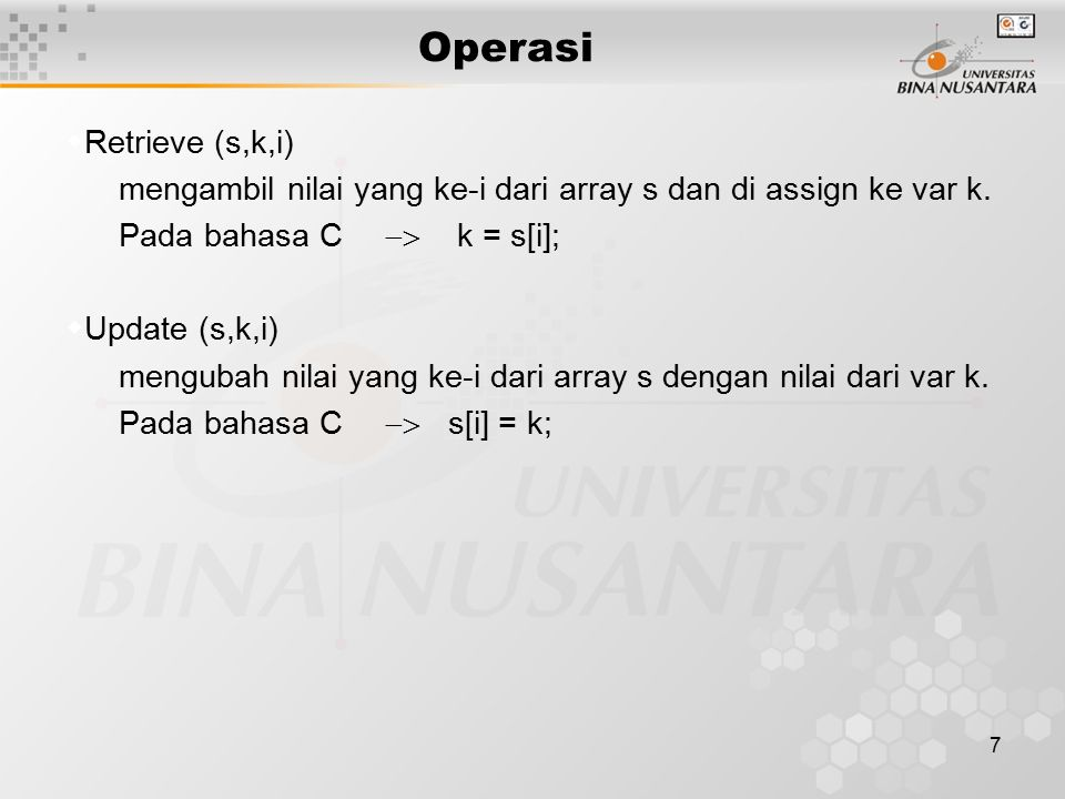 Operasi Retrieve (s,k,i)