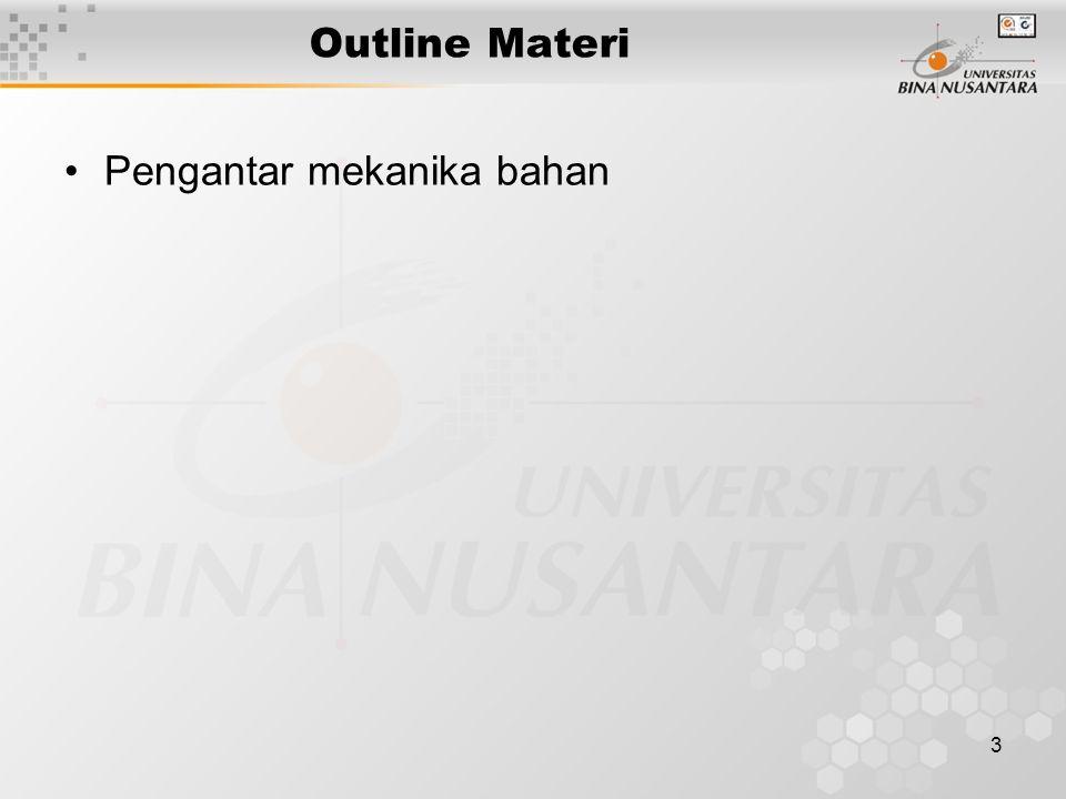 Outline Materi Pengantar mekanika bahan