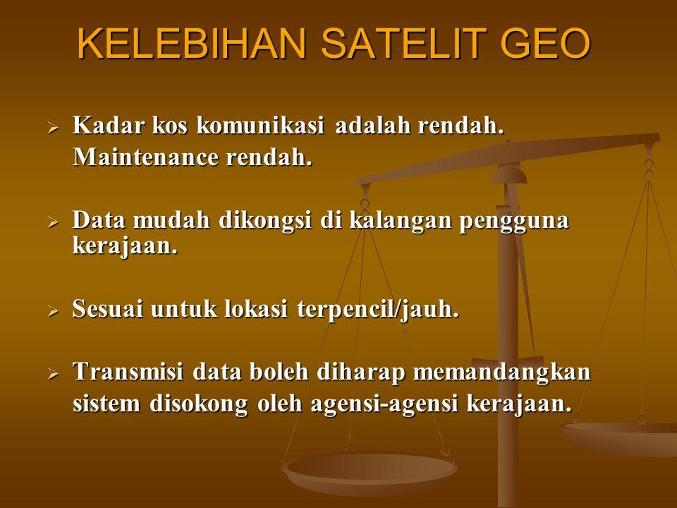 KELEBIHAN SATELIT GEO Kadar kos komunikasi adalah rendah.