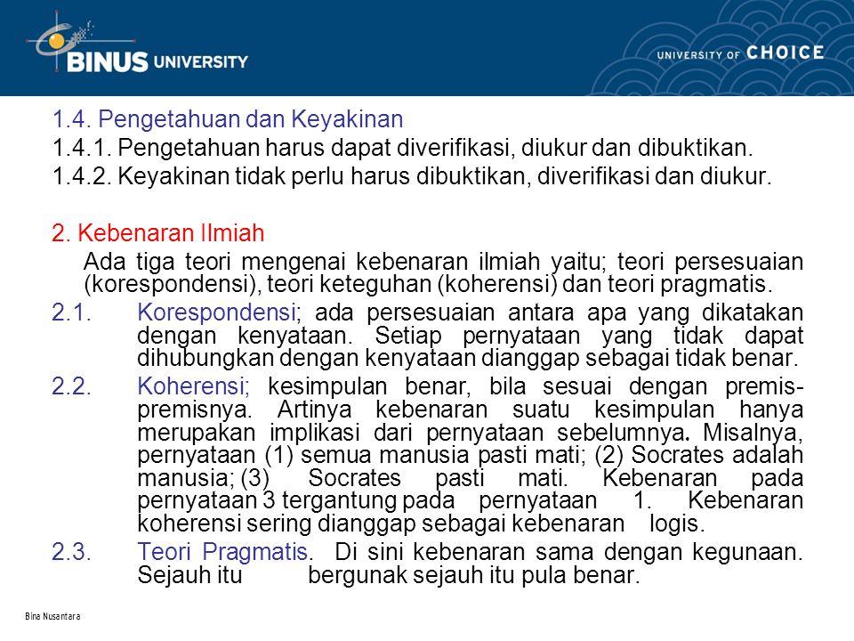 1.4. Pengetahuan dan Keyakinan