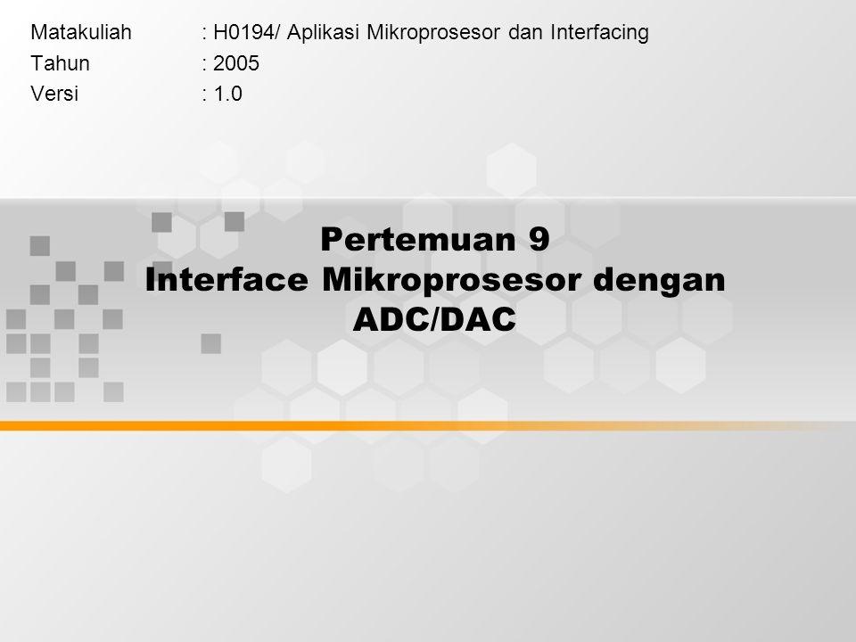Pertemuan 9 Interface Mikroprosesor dengan ADC/DAC