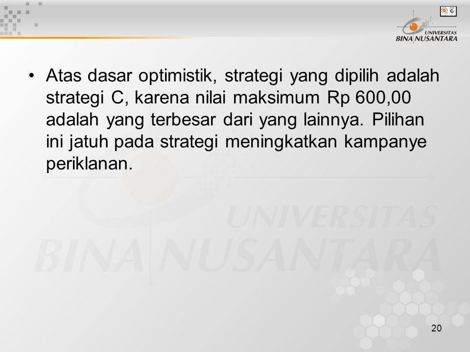 Atas dasar optimistik, strategi yang dipilih adalah strategi C, karena nilai maksimum Rp 600,00 adalah yang terbesar dari yang lainnya.