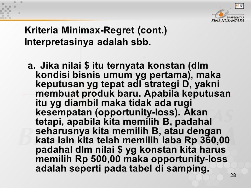Kriteria Minimax-Regret (cont.)