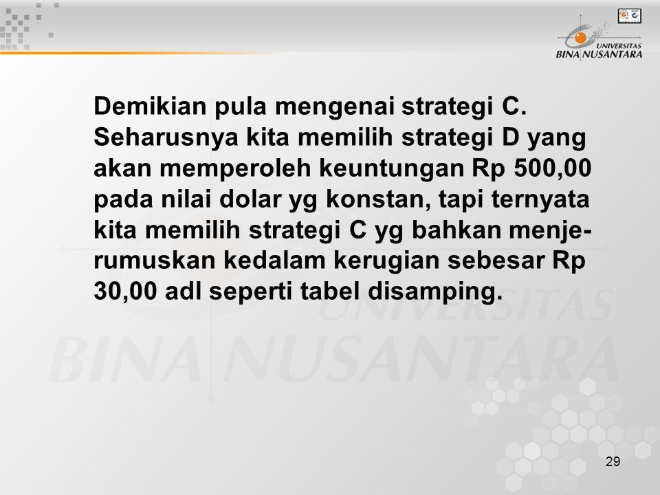 Demikian pula mengenai strategi C