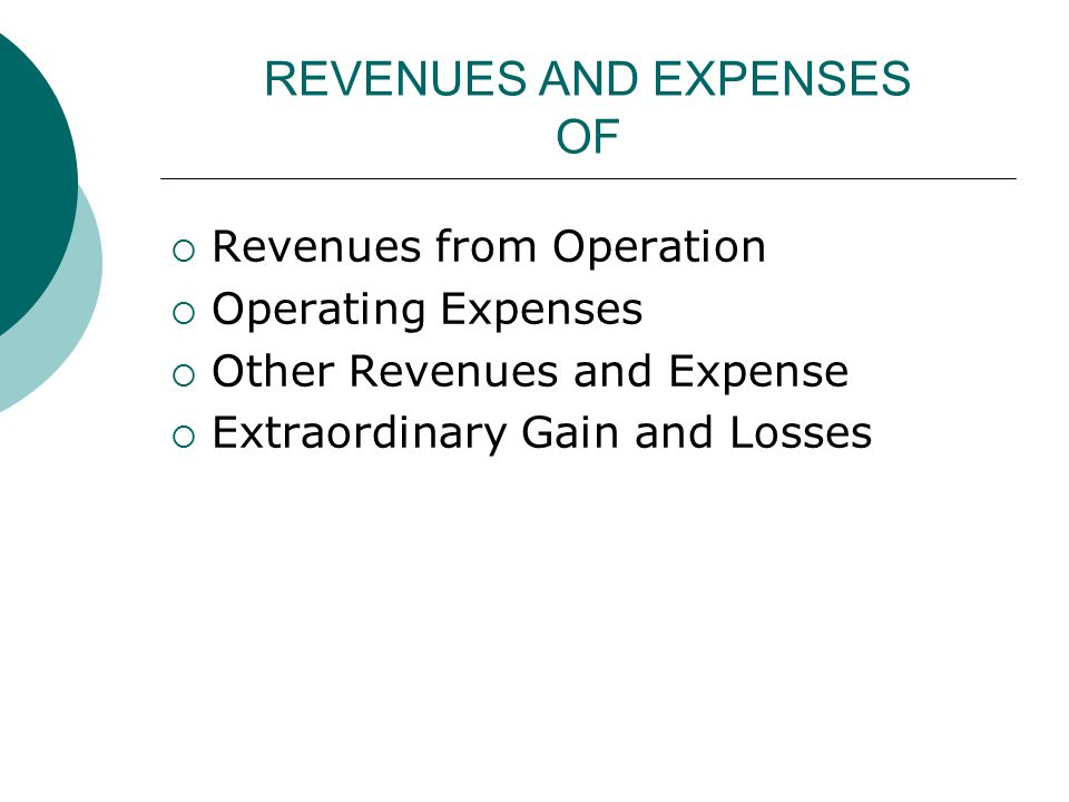 REVENUES AND EXPENSES OF