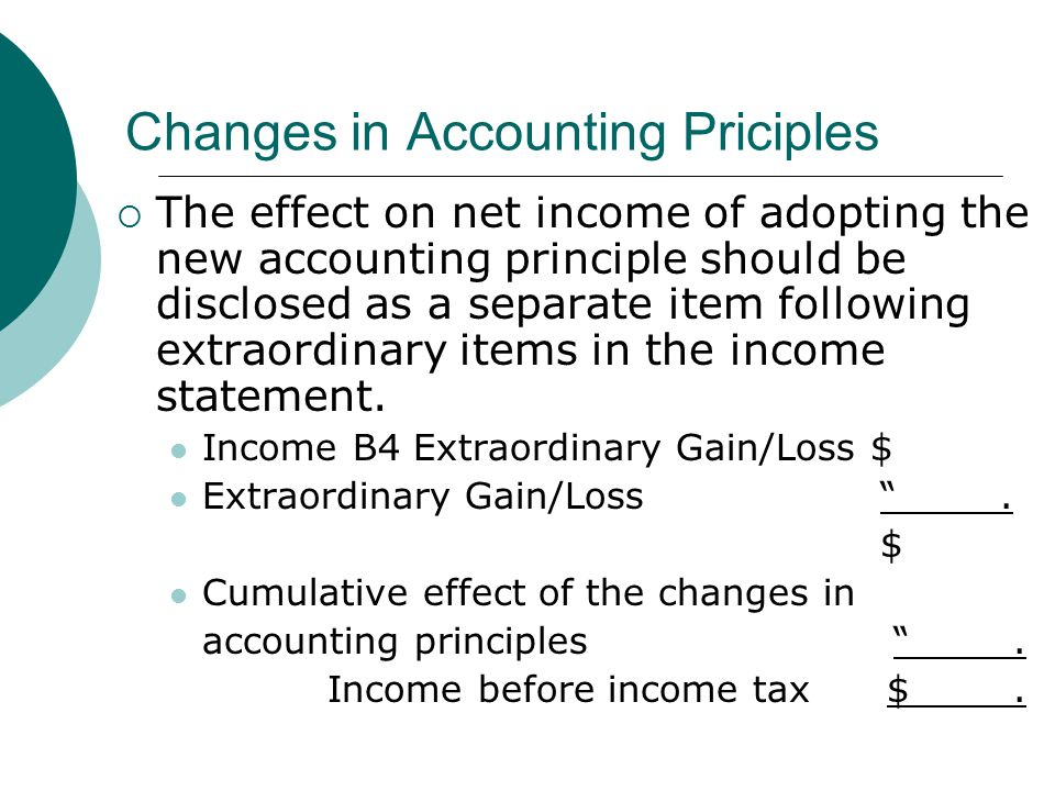 Changes in Accounting Priciples