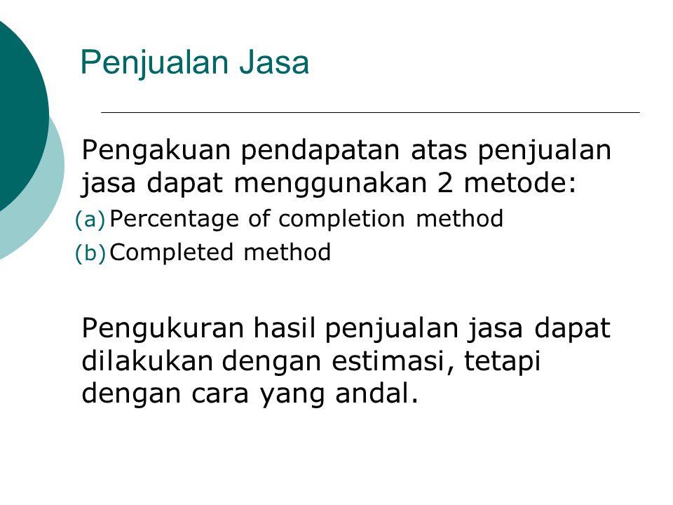 Penjualan Jasa Pengakuan pendapatan atas penjualan jasa dapat menggunakan 2 metode: Percentage of completion method.