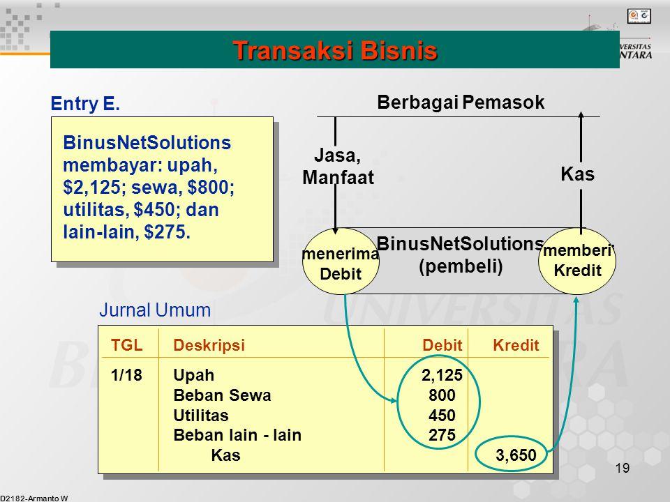 Transaksi Bisnis Entry E. Berbagai Pemasok