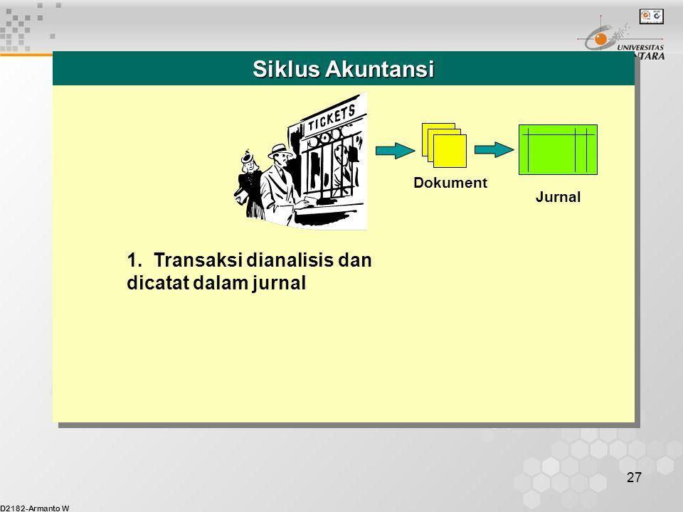 Siklus Akuntansi 1. Transaksi dianalisis dan dicatat dalam jurnal