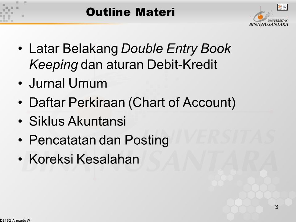 Latar Belakang Double Entry Book Keeping dan aturan Debit-Kredit