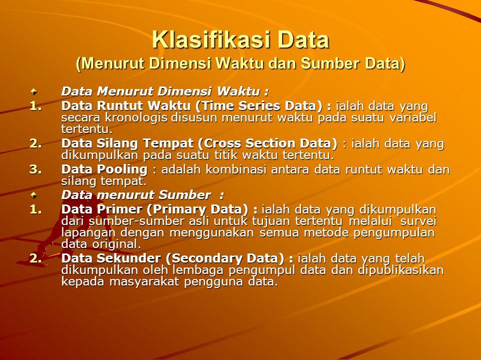 Klasifikasi Data (Menurut Dimensi Waktu dan Sumber Data)