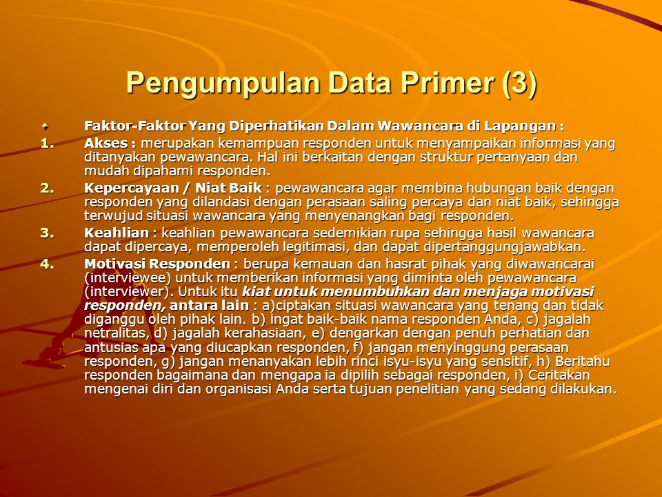 Pengumpulan Data Primer (3)