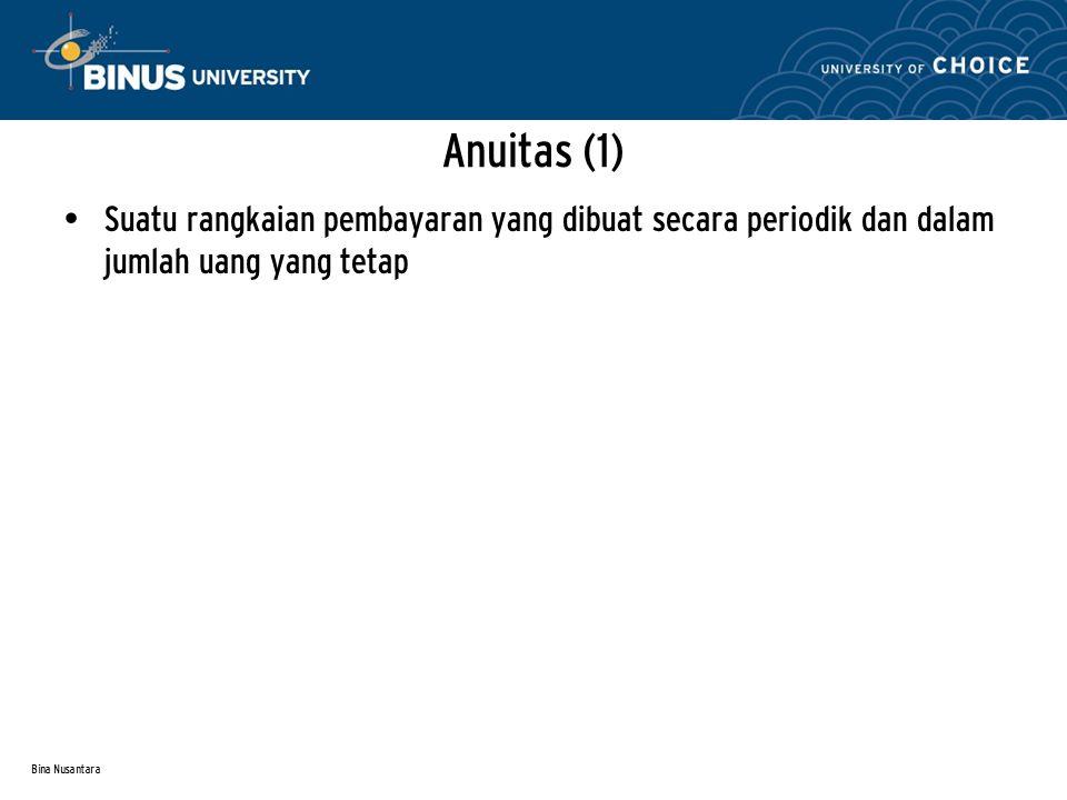 Anuitas (1) Suatu rangkaian pembayaran yang dibuat secara periodik dan dalam jumlah uang yang tetap.