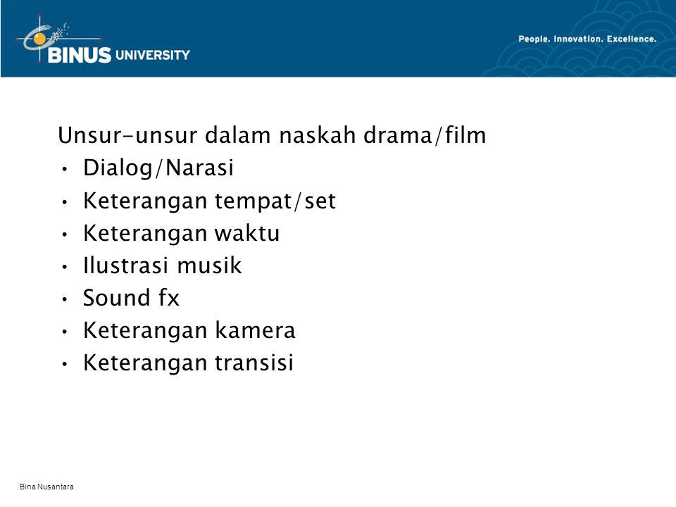 Unsur-unsur dalam naskah drama/film Dialog/Narasi