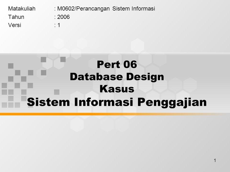 Pert 06 Database Design Kasus Sistem Informasi Penggajian