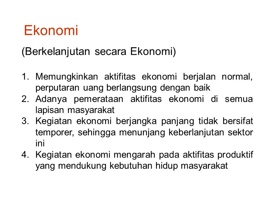 Ekonomi (Berkelanjutan secara Ekonomi)