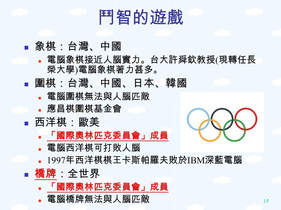 鬥智的遊戲 象棋:台灣、中國 圍棋:台灣、中國、日本、韓國 西洋棋:歐美 橋牌:全世界