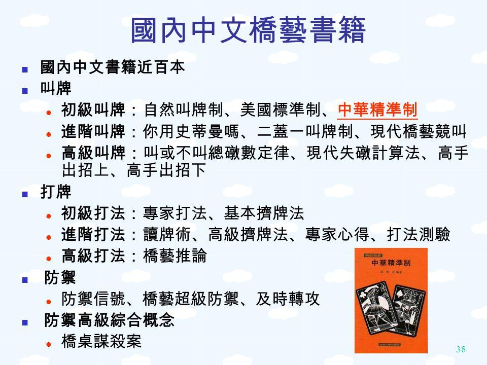 國內中文橋藝書籍 國內中文書籍近百本 叫牌 初級叫牌:自然叫牌制、美國標準制、中華精準制 進階叫牌:你用史蒂曼嗎、二蓋一叫牌制、現代橋藝競叫