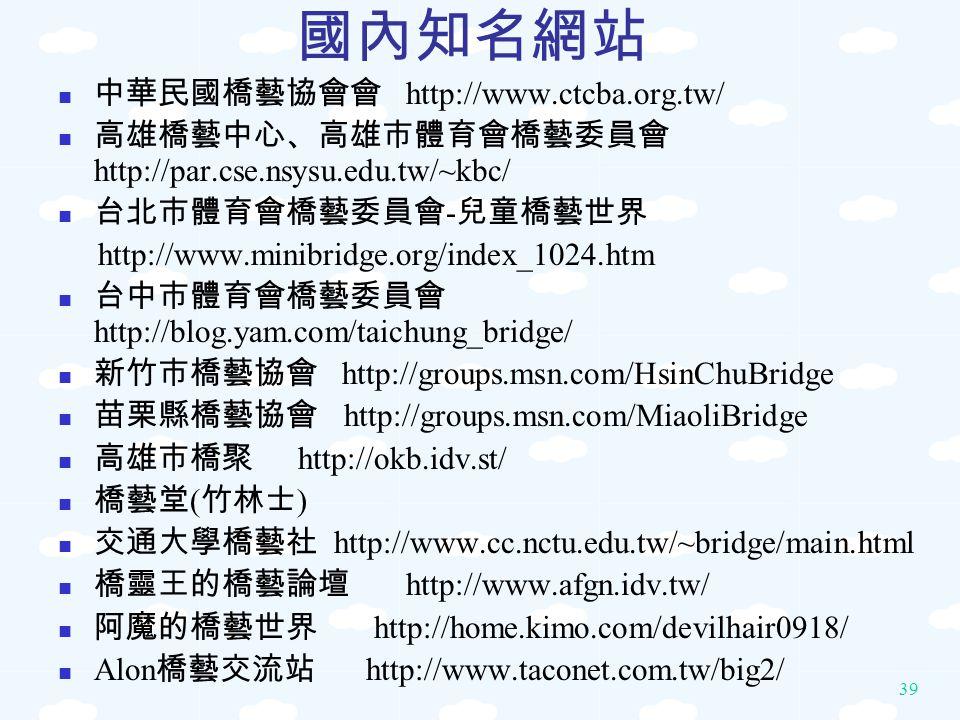 國內知名網站 中華民國橋藝協會會 http://www.ctcba.org.tw/