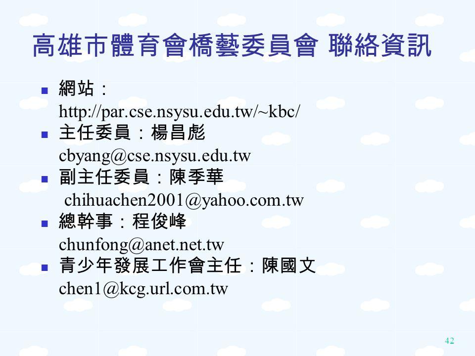 高雄市體育會橋藝委員會 聯絡資訊 網站: http://par.cse.nsysu.edu.tw/~kbc/ 主任委員:楊昌彪