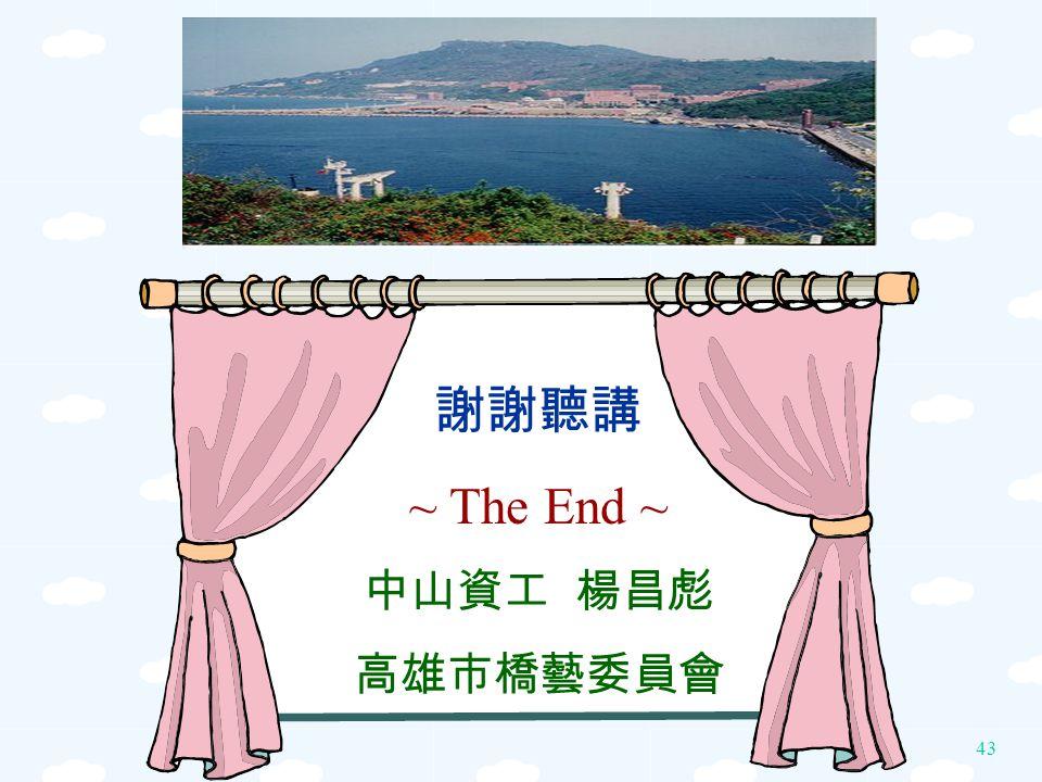 謝謝聽講 ~ The End ~ 中山資工 楊昌彪 高雄市橋藝委員會