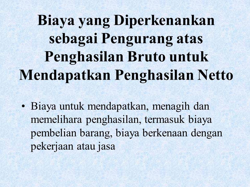 Biaya yang Diperkenankan sebagai Pengurang atas Penghasilan Bruto untuk Mendapatkan Penghasilan Netto