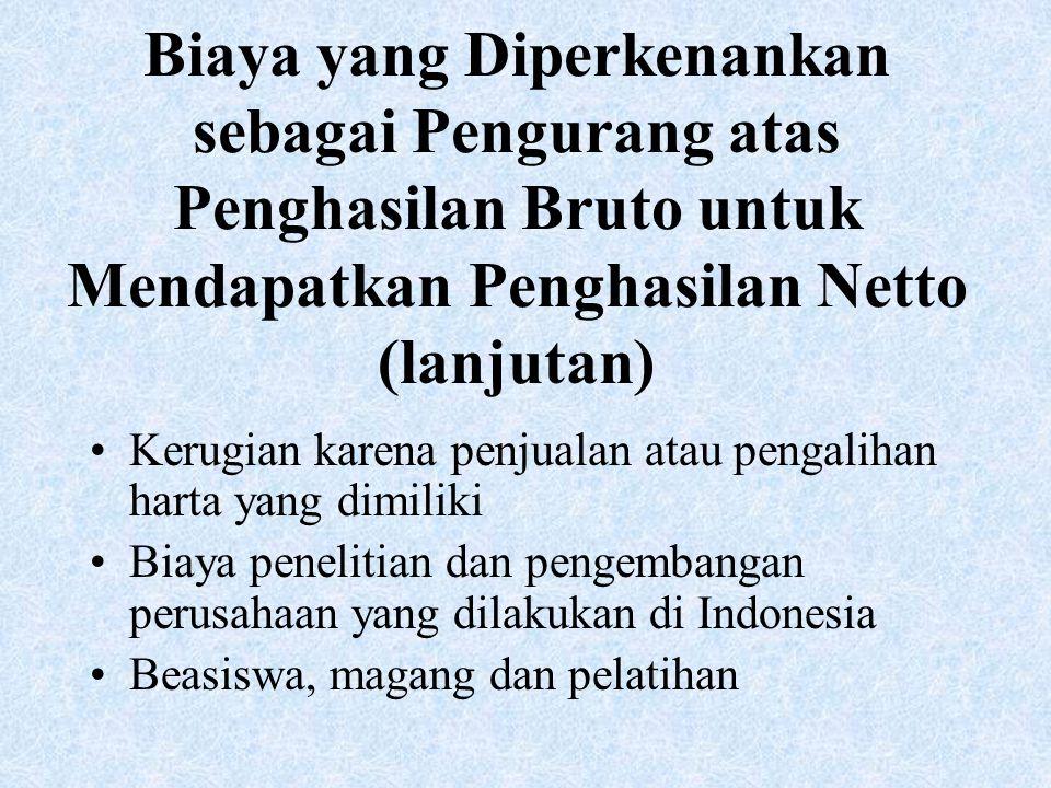 Biaya yang Diperkenankan sebagai Pengurang atas Penghasilan Bruto untuk Mendapatkan Penghasilan Netto (lanjutan)