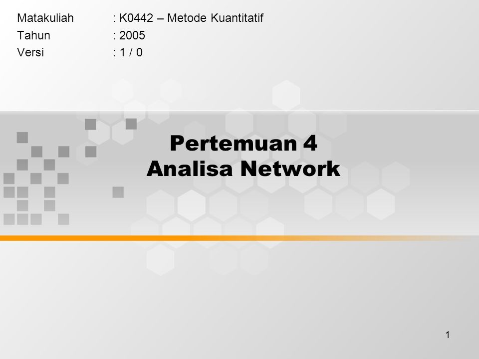 Pertemuan 4 Analisa Network