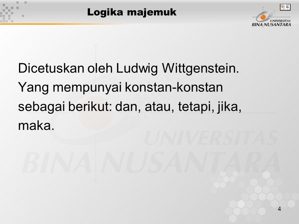 Dicetuskan oleh Ludwig Wittgenstein. Yang mempunyai konstan-konstan