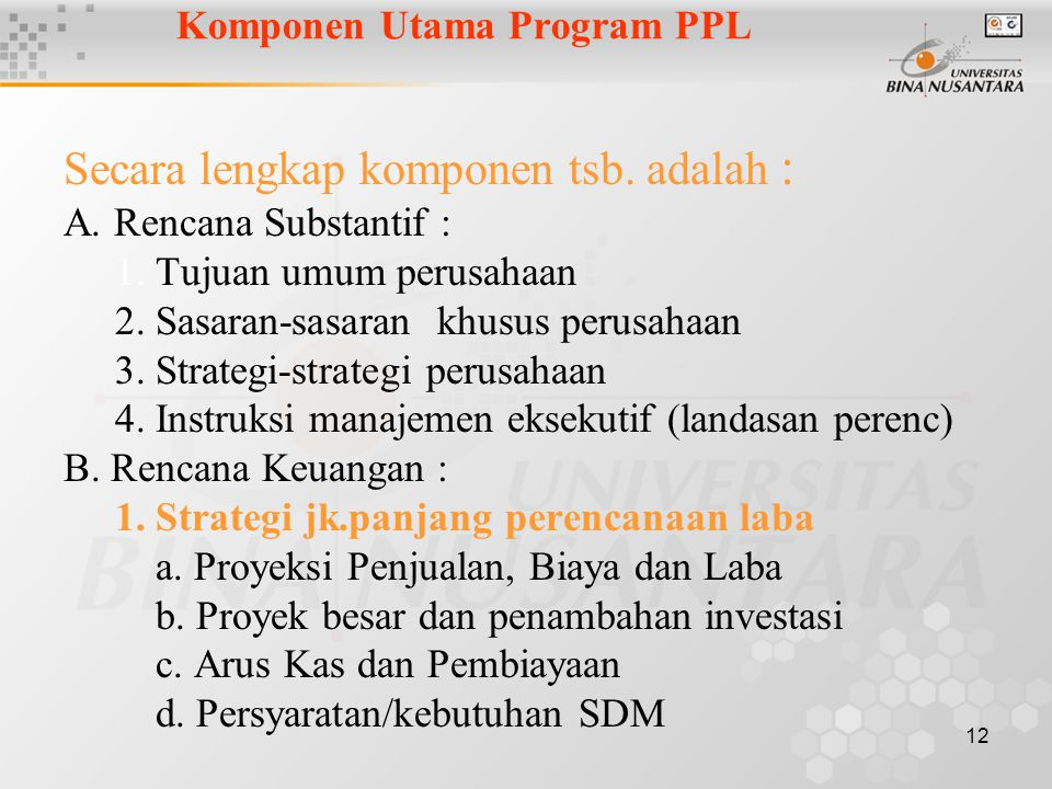 Komponen Utama Program PPL