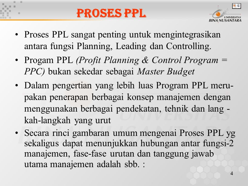 PROSES PPL Proses PPL sangat penting untuk mengintegrasikan antara fungsi Planning, Leading dan Controlling.