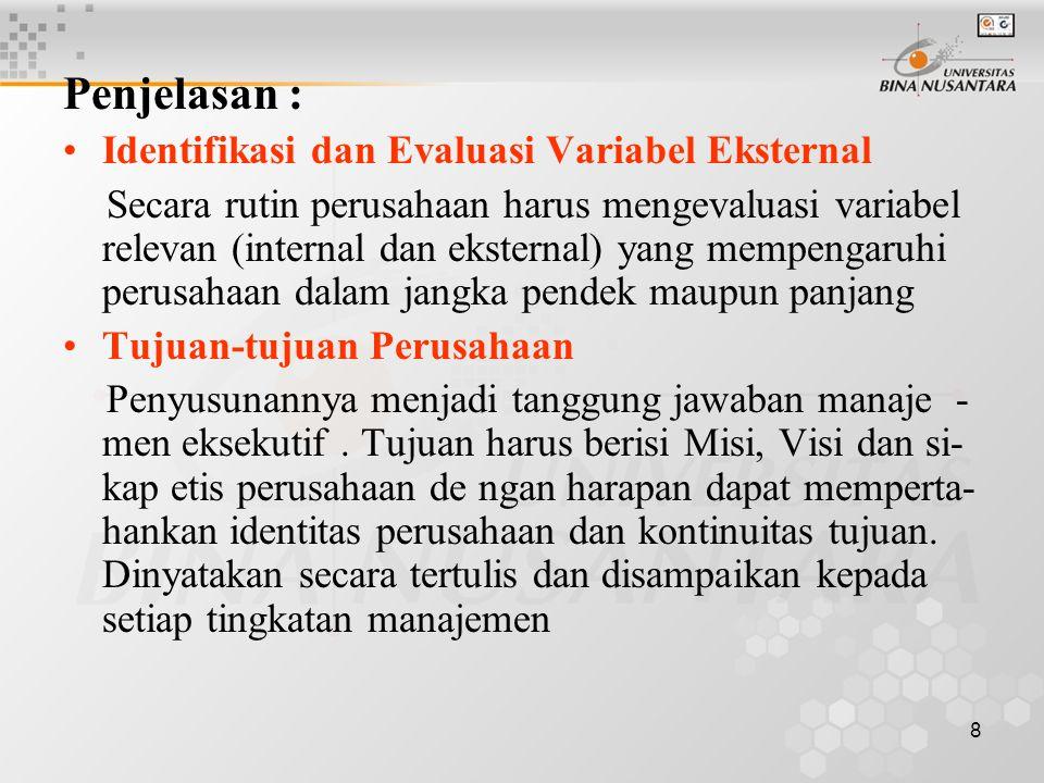 Penjelasan : Identifikasi dan Evaluasi Variabel Eksternal
