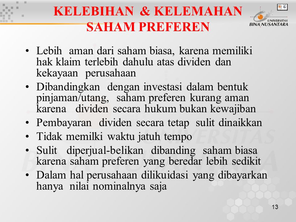 KELEBIHAN & KELEMAHAN SAHAM PREFEREN