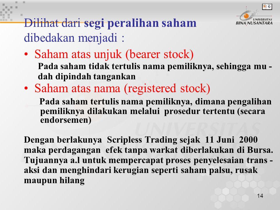 Dilihat dari segi peralihan saham dibedakan menjadi :