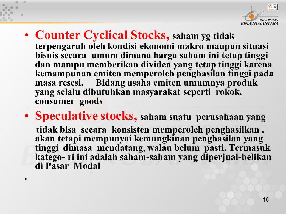 Speculative stocks, saham suatu perusahaan yang