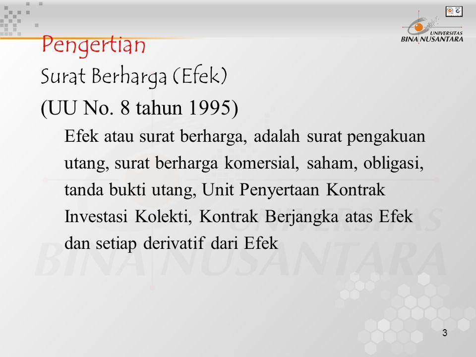 Pengertian Surat Berharga (Efek) (UU No. 8 tahun 1995)