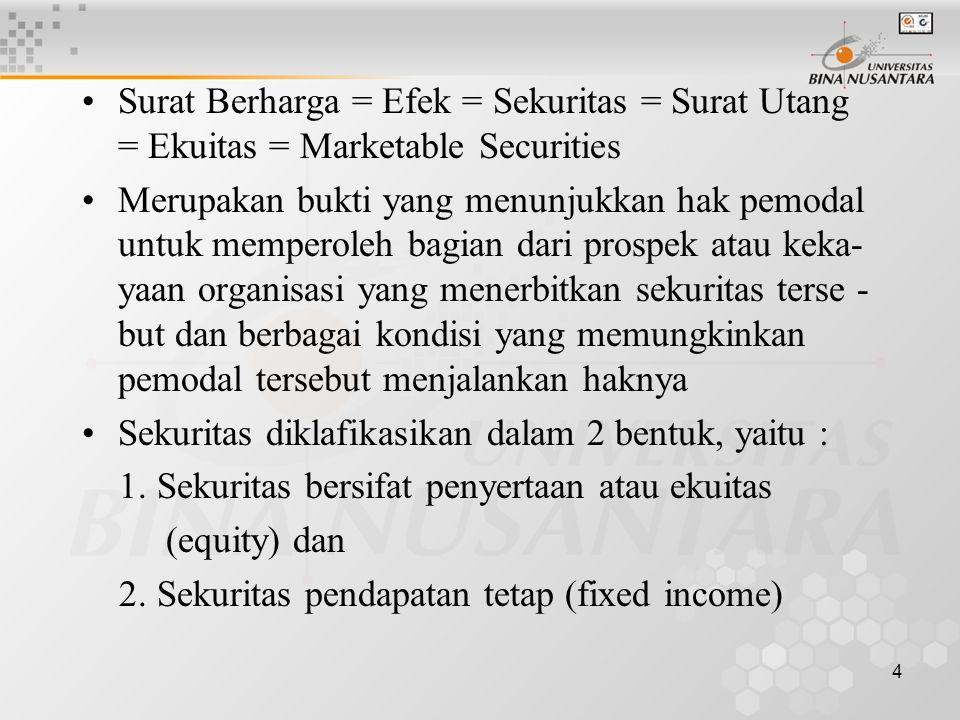 Surat Berharga = Efek = Sekuritas = Surat Utang = Ekuitas = Marketable Securities