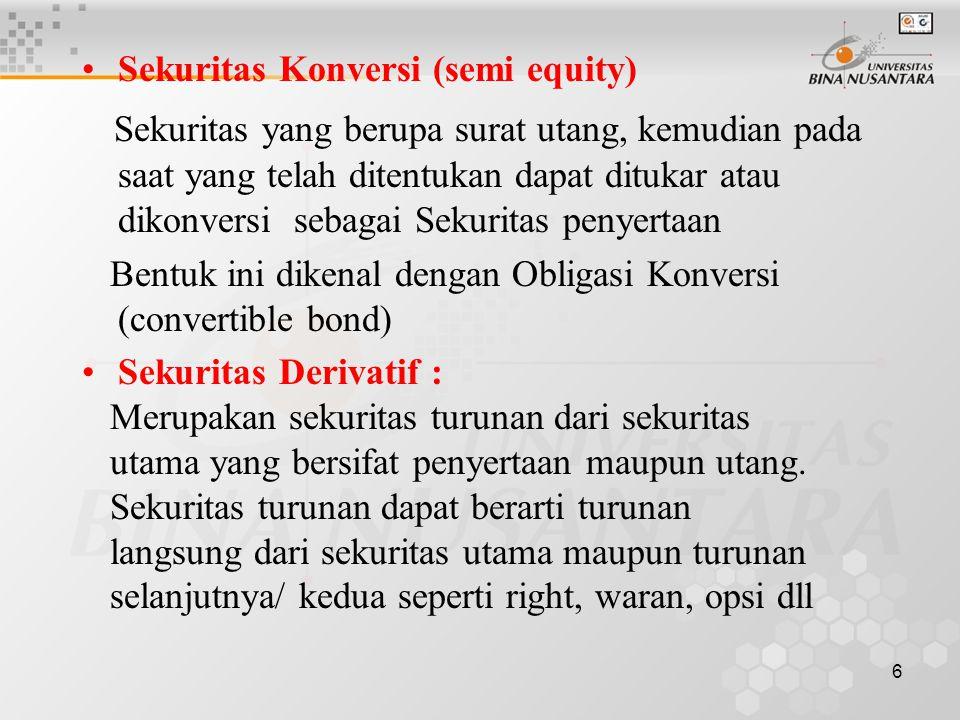 Sekuritas Konversi (semi equity)