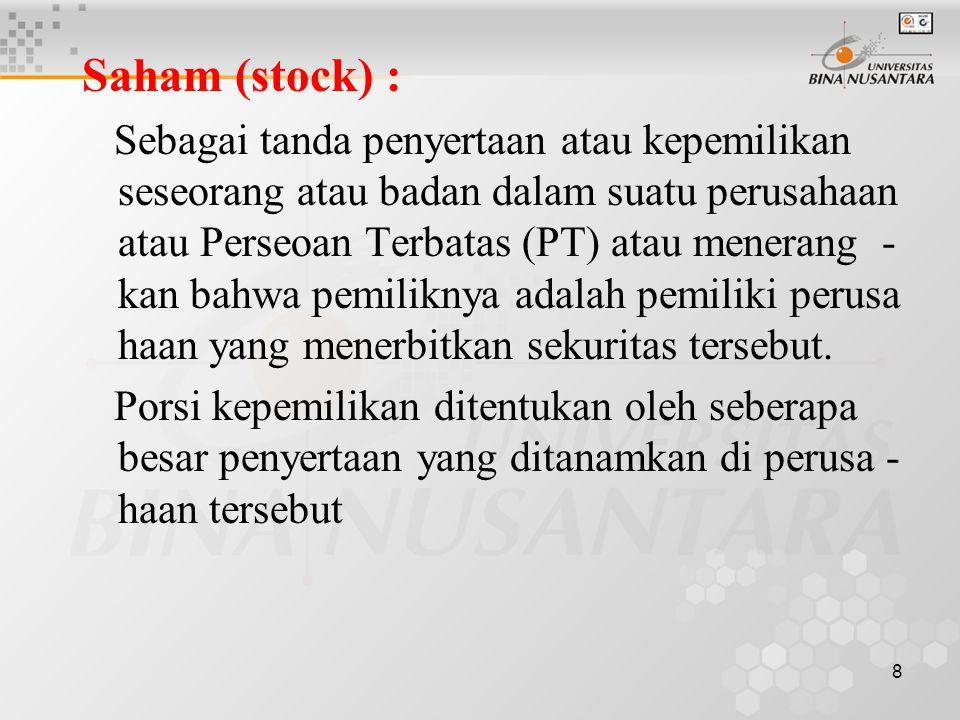 Saham (stock) :
